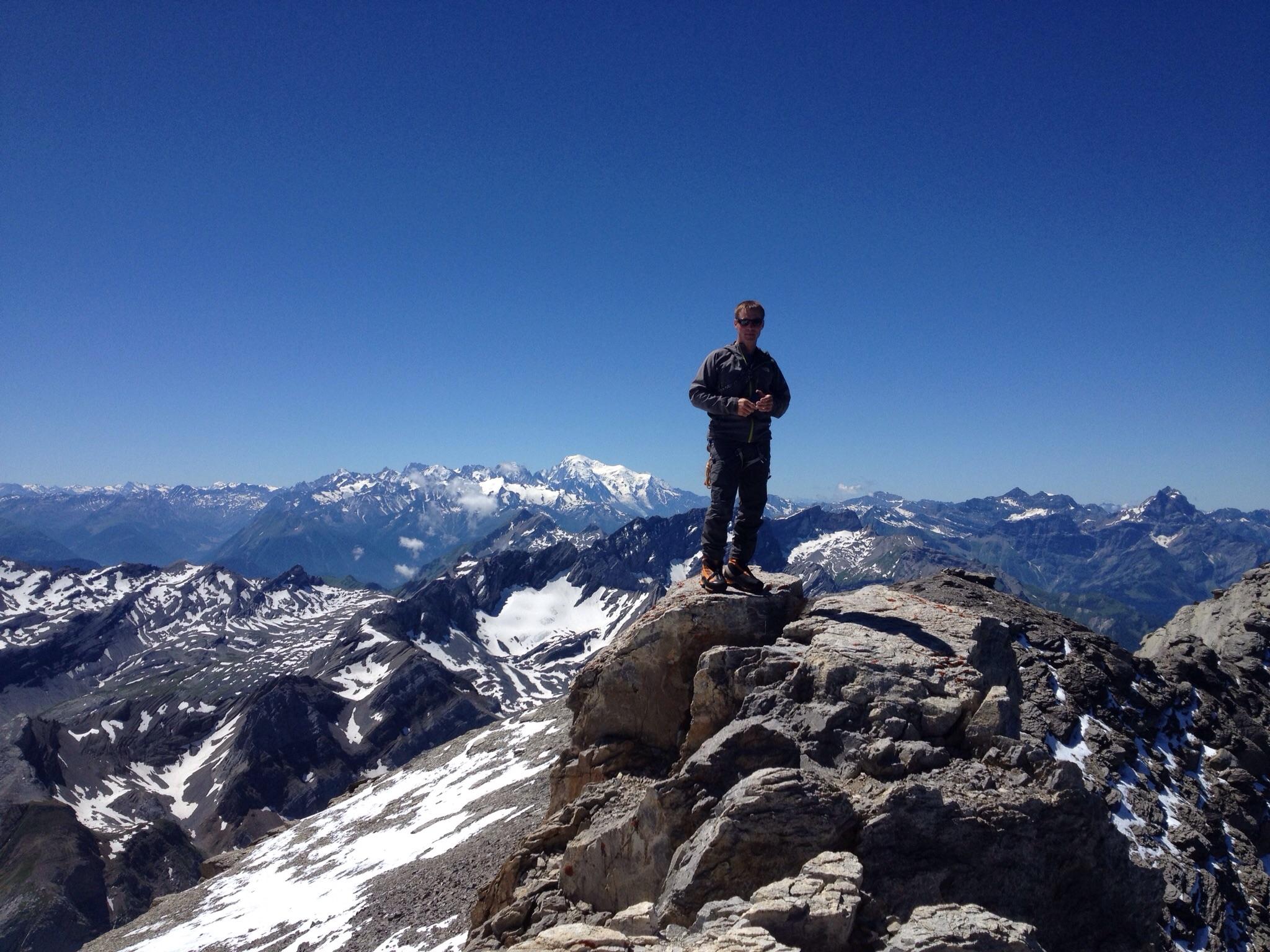 Gipfelfoto mit Peter und Montblanc